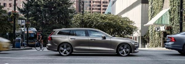 2019 Volvo V60 parked in the city side view