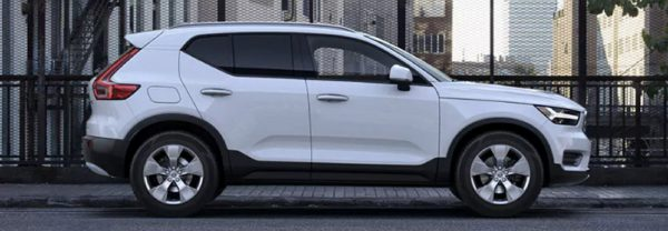 White 2019 Volvo XC40 parked on a bridge
